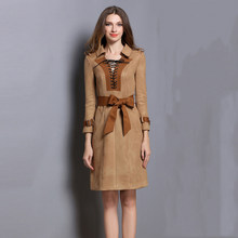8bd7041cd714 2018 New Autumn Winter Dress for women Fashion Suede Fabric Patchwork  Dresses High Quality Lace Up Slim Clothing with Belt WM110