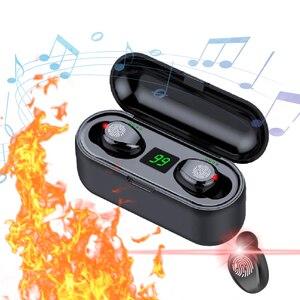Image 1 - デジタルディスプレイのタッチイヤホン TWS ワイヤレスヘッドフォン Bluetooth ステレオ Bluetooth 充電ボックス電源銀行