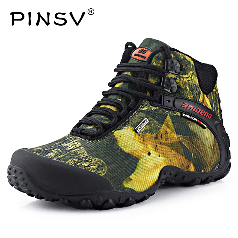 PINSV New Waterproof Canvas Hiking Men Shoes Trekking Boots Outdoor Camouflage Hunting Climbing High Top 2017 Plus Large Size 10 waterproof men outdoor hiking boots autumn winter hunting boots mountain climbing men trekking shoes warm fur snow boots male