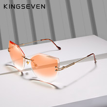 KINGSEVEN-lunettes de soleil yeux de chat pour femmes, de luxe, verres solaires sans bords, couleur dégradée, Vintage, de styliste, Oculos N807
