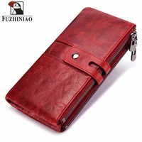 2018 Genuine Leather Women Wallet Female Coin Purse Walet Hasp Portomonee Clutch Money Bag Lady Handy Card Holder Long for Girls