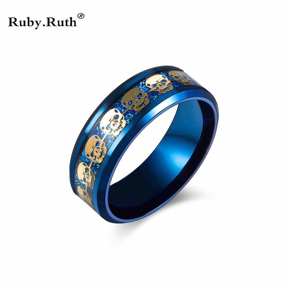 Pierścień mężczyzna biżuteria czaszka ze stali nierdzewnej złoty kolor wypełniony niebieski czarne pierścienie