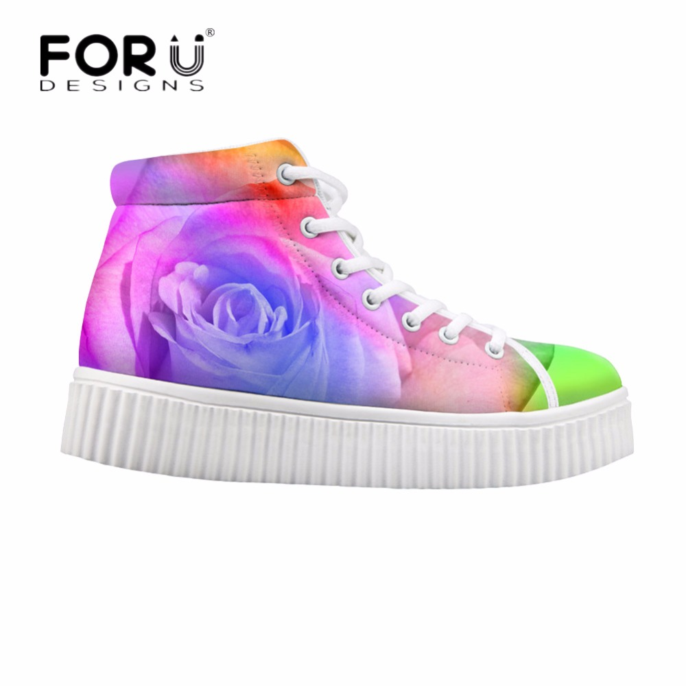 FORUDESIGNS Fashion Women Height Increasing Flats Shoes 3D Pretty Flower Rose Printed Casual High Top Shoes for Female Platform forudesigns fashion women height increasing flats shoes 3d pretty flower rose printed casual high top shoes for female platform