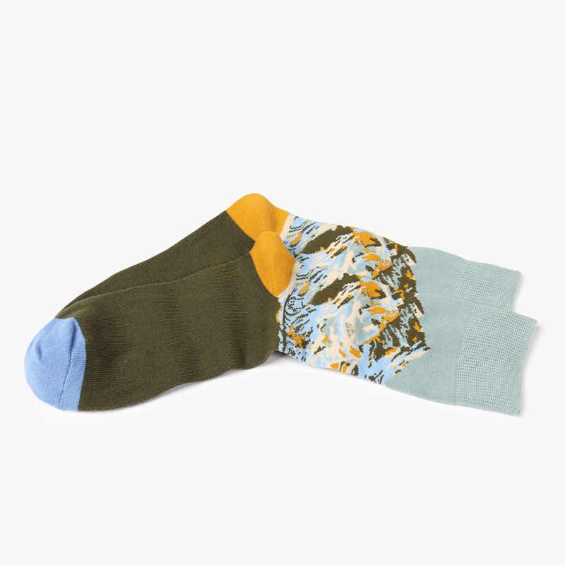 男ソックス新ファッション 1 ペア男性カジュアル通気性ソックスカラープリントドットロング男性のファッションハッピー綿の靴下高品質