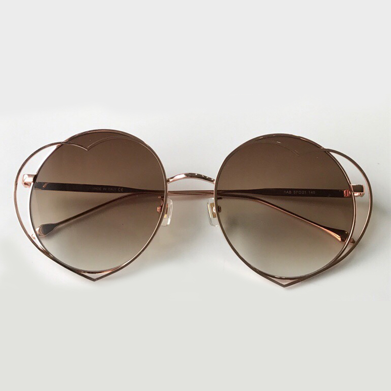 2019 High Quality Round Fashion Women Sunglasses with Brown Gradient lens Double Frame Vintage Sunlgasses