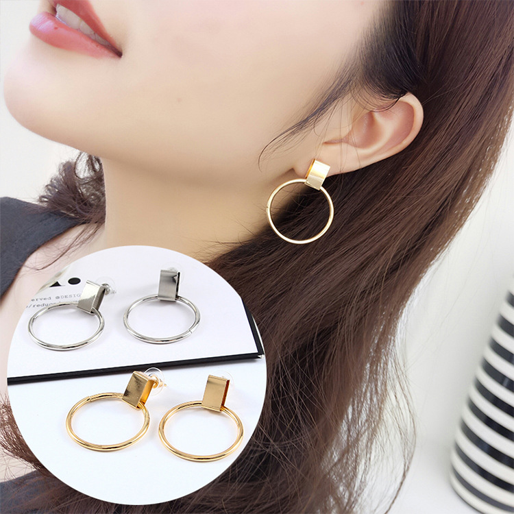 New Hot Punk Earings Fashion Jewelry 2017 Gold Big Round Pendant Earrings For Women Boucle Doreille Pendante Femme