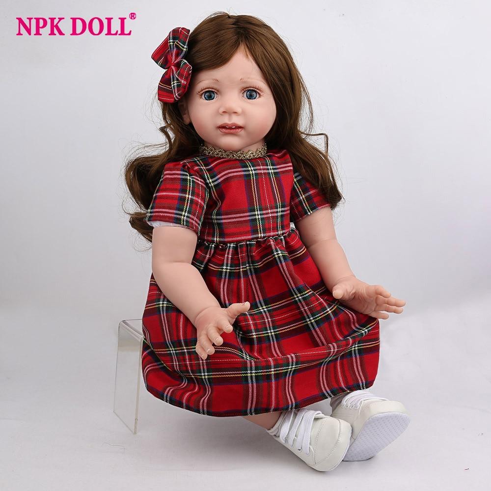 NPKDOLL Reborn Baby Doll Lifelike Newborn Girl Red Dress Christmas Style Fashion Toys Gifts Boys Kids