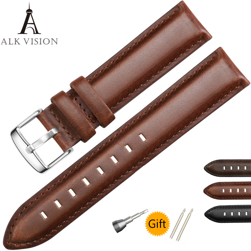 2018 ALK VISION Genuine leather 18mm 20MM Black Brown Thickening Watch bands Strap Bracelet Replace DW Wristband 1pcs canvas fabric nylon watch straps bands black army green brown gray striped replace wristwatch bracelet width 20mm
