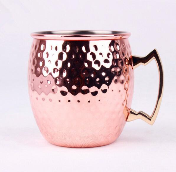 High Quality 540ml Stainless Steel Beer Cup Copper Hammered Mugs Copper plated Cups Drinkware With Handgrip Nice Gifts