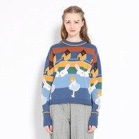 Harajuku Runway Designer Winter Warm Kobiety Sweterek Sweter Z Dzianiny Bawełnianej Topy Bunny Żakardowe Kobiet Dzianina Grube Swetry