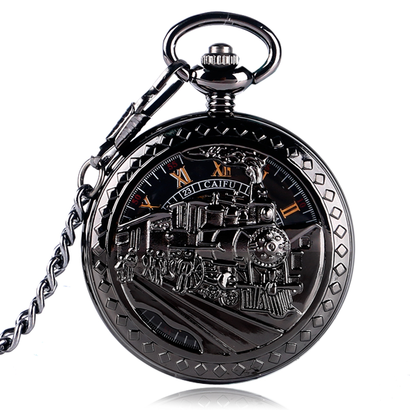 Exquisite Skeleton Running Steam Train Pocket Watch Mechanical Hand Winding Clock Pendant Chain Gift