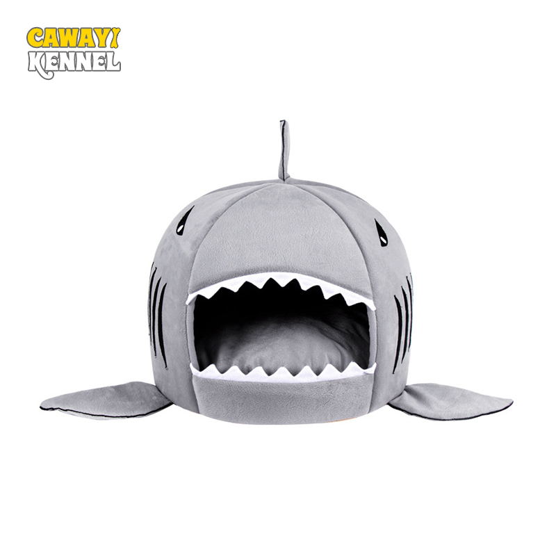 CAWAYI CHENIL Requin Doux Forme Chien Chat Lit Chiot Maisons Lovery Chaud Chien Kennel D0023