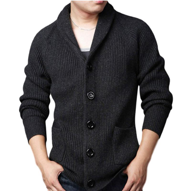 Idopy Men's Casual Slim Thick Knitted Shawl Collar Wool Cardigan Sweaters With Pockets For Male Knit Coat