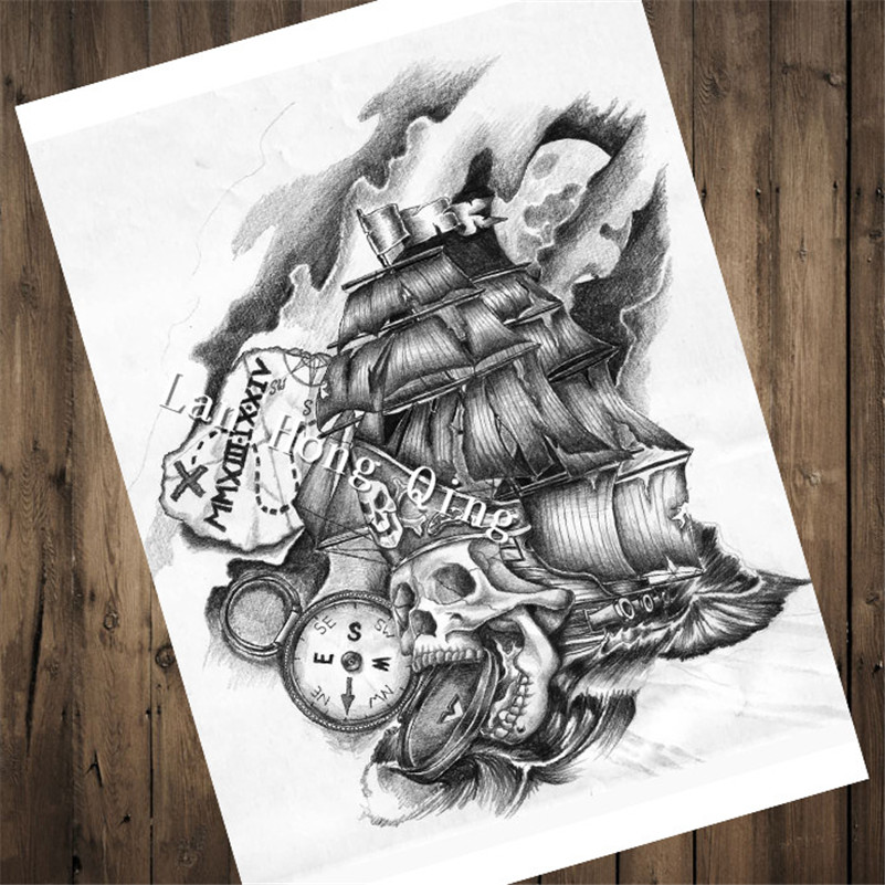 top fashion retro vintage tattoos patterned poster pirate ship home decor pictures for bedroom. Black Bedroom Furniture Sets. Home Design Ideas
