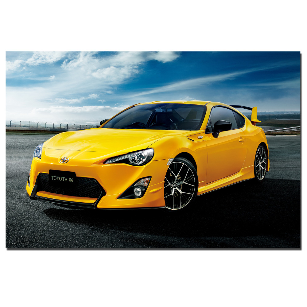 Online Shop Toyota 2015 GT86 Yellow Auto Poster Canvas Cloth Fabric ...