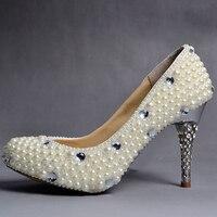 Wholesale 2015 New U S White Handmade Pearl Crystal Diamond Bridal Wedding Shoes Ultra High Heel