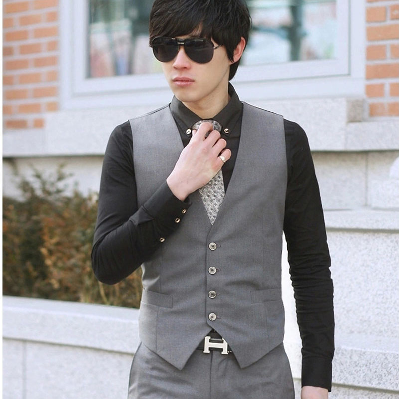 Men Solid Color Waistcoat Slim Fit Single-breasted Business Casual Vest For Spring FDC99
