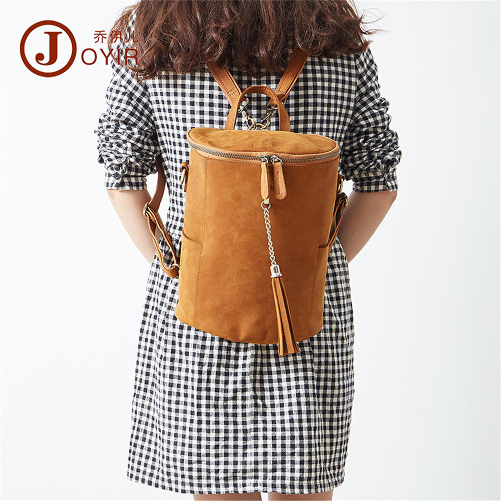 JOYIR tassel Design backpack women genuine leather Backpacks For Girls School Bags vintage Back Packs female Casual Travel Bag