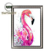 FineTime 5D DIY Diamond Embroidery Flamingo Partial Drill Animals Diamond Painting Cross Stitch Mosaic Painting finetime lucky fish 5d diy diamond painting partial drill diamond embroidery cross stitch animals mosaic painting
