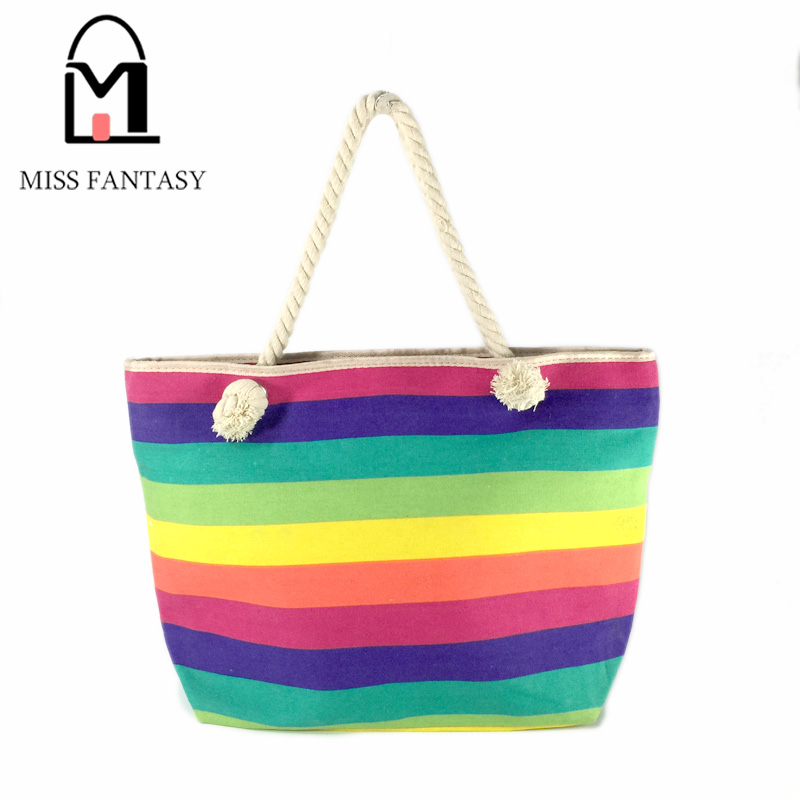 2017 New Spring Women's Canvas Handbag Bohemia Style Beach Bag Colorful Rainbow Shopping Bags Big Tote Bags Travel Shoulder Bags