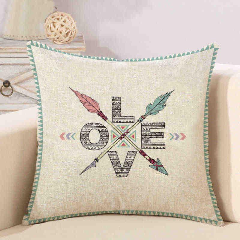 Лен Пледы Подушки крышка квадратный Декоративные Чехлы на подушку Алфавит животных цветок высокие каблуки чехол для подушки с буквами