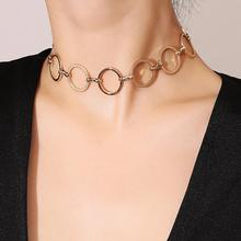 Short Copper Round Chokers Necklace for Women Geometric Hollow Fashion Collarbone Necklaces Exaggerated