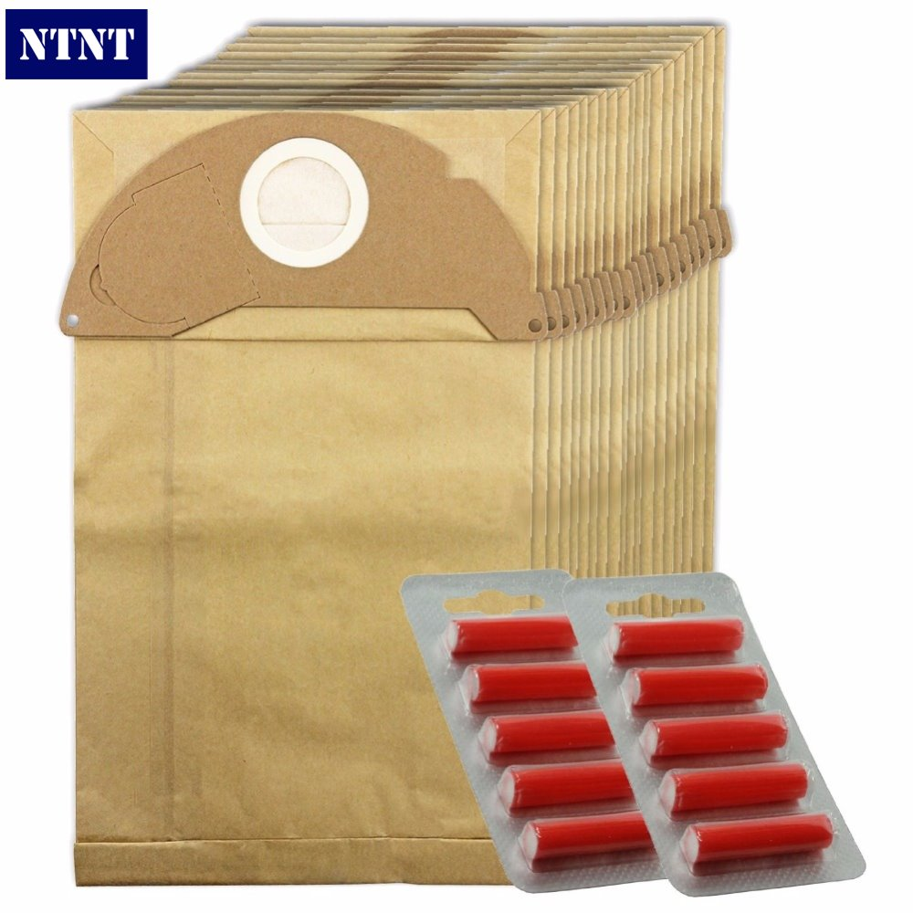 NTNT vacuum cleaner bags with Filter For Karcher 2, 20 Stock, 20 Bags + 10 Freshener Sticks Fit A2054 A2064 ntnt free post new 15 pcs dust bag and 1x filter kit for karcher vacuum cleaner a2054 a2064 15 bags