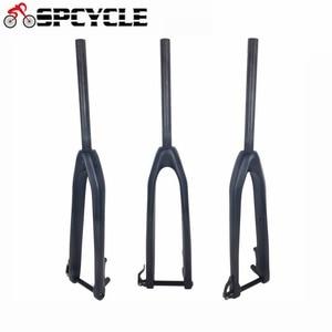Spcycle углерода MTB вилка 26.5er/27.5er/29er углерода горный велосипед жесткая вилка 100*15 мм через ось вилки 1-1 / 8 ''прямая трубка