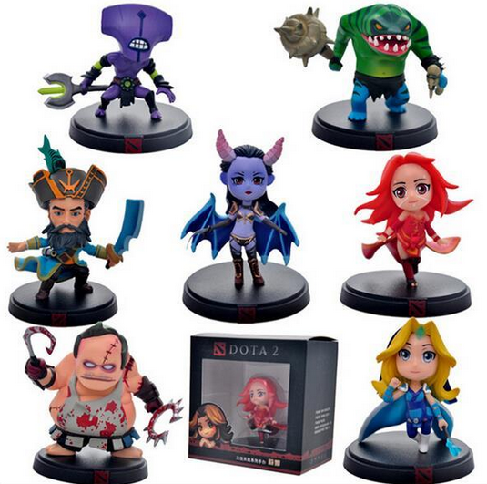 ФОТО 7pcs/Set DOTA 2 Game Figure Faceless Void Crystal Maiden Kunkka Lina Pudge Queen Tidehunter PVC Action Figures Collection Toys