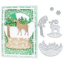 Julyarts Scrapbooking Dies Metal Christmas Deer Snow Flower Tree Embossing New Paper Cut Stencil  Tools