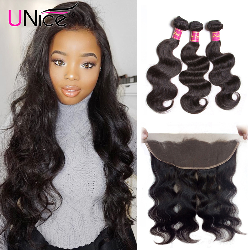 Unice Hair Body Wave Peruvian Hair Lace Frontal Closure With Bundles 4 PCS Remy Hair 100% Human Hair Extensions Natural Color-in 3/4 Bundles with Closure from Hair Extensions & Wigs    1