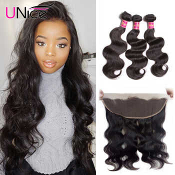 Unice Hair Body Wave Peruvian Hair Lace Frontal Closure With Bundles 4 PCS Remy Hair 100% Human Hair Extensions Natural Color - DISCOUNT ITEM  30% OFF All Category