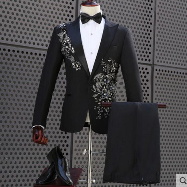 6110fe8b0a3 Plus Size Flowers Embroidered Black Jacket Blazer Pants Set Men s Luxurious Slim  Suit Prom Party Men Singer Stage Show Suits