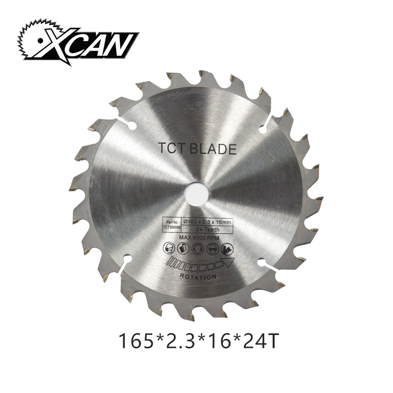 XCAN 1PC 165*2.3*16mm 24Teeth TCT Circular Saw Blade For Cut Wood Plastic Acrylic TCT Woodworking Saw Blade