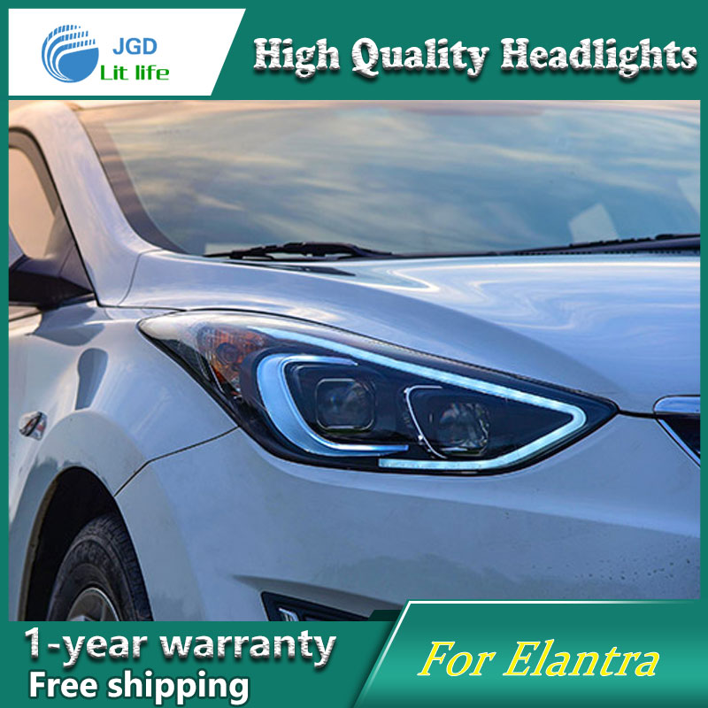Car Styling Head Lamp case for 2012-2016 Hyundai Elantra Headlights LED Headlight DRL Lens Double Beam Bi-Xenon HID Accessories hireno headlamp for 2004 10 hyundai elantra headlight headlight assembly led drl angel lens double beam hid xenon 2pcs