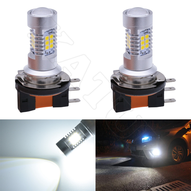 2 Pieces H15 Led Bulb 6000K White Xenon Lamp Automotive Fog Light Daytime Running Light DRL Led Bulb (No Hi/Lo Function) qvvcev 2pcs new car led fog lamps 60w 9005 hb3 auto foglight drl headlight daytime running light lamp bulb pure white dc12v