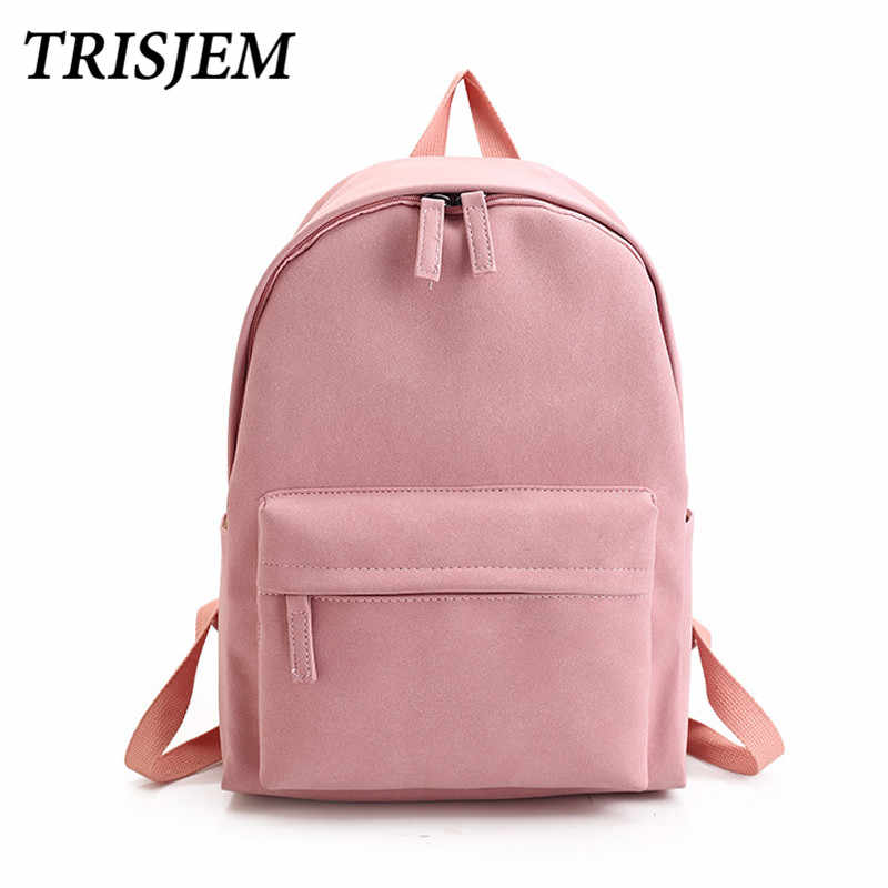 4e3cbc47a535 TRISJEM New School Girl Backpack Women Leather Pu Pink Harajuku Backpack  Teenagers Travel Bookbag Mochila Couple