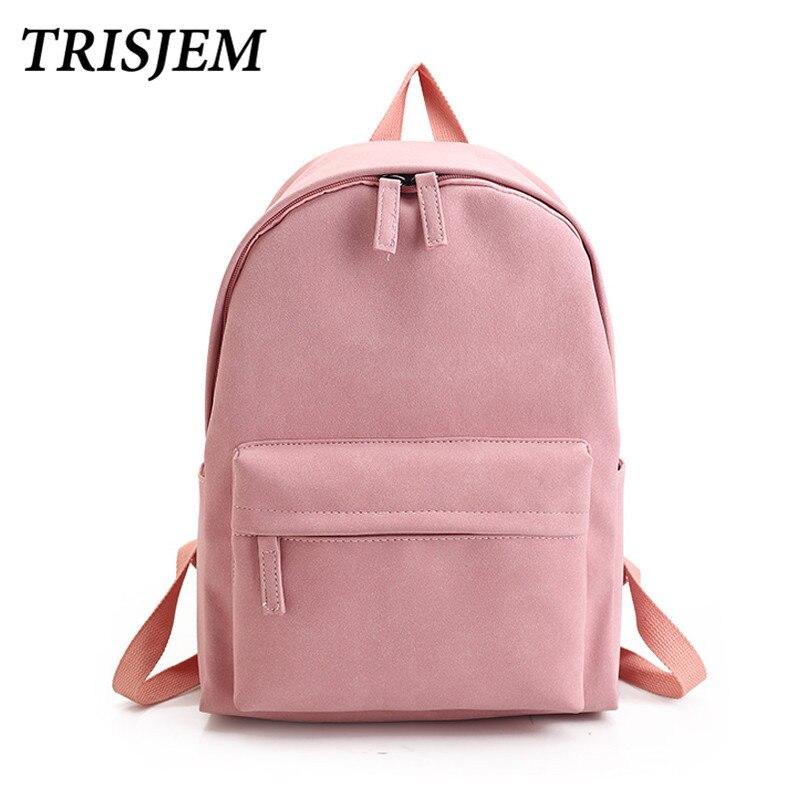 TRISJEM New School Girl Backpack Women Leather Pu Pink Harajuku Backpack Teenagers Travel Bookbag Mochila Couple Blue Sac A Dos