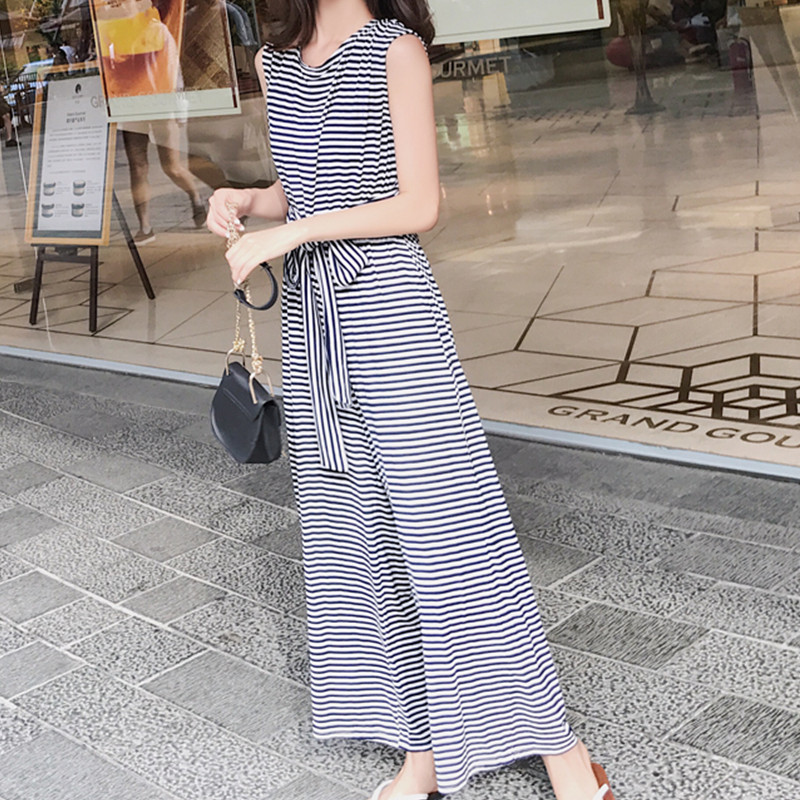 Plus Size 2018 Summer Backless Stripe Cotton Wide Leg Rompers Womens Jumpsuit Bow Bandage Bodysuit Playsuits Overalls Trousers