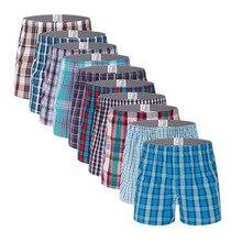 10 pçs/lote roupa interior dos homens boxers shorts 100% algodão roupa interior macio xadrez boxer calcinha masculina confortável respirável boxers dos homens