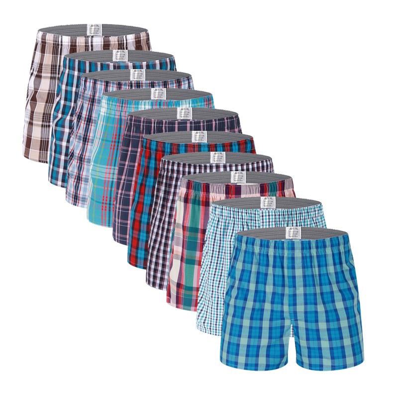 10 pièces/lot hommes sous-vêtements boxeurs Shorts 100% coton sous-vêtements doux Plaid Boxer mâle culottes confortables respirant boxeurs hommes