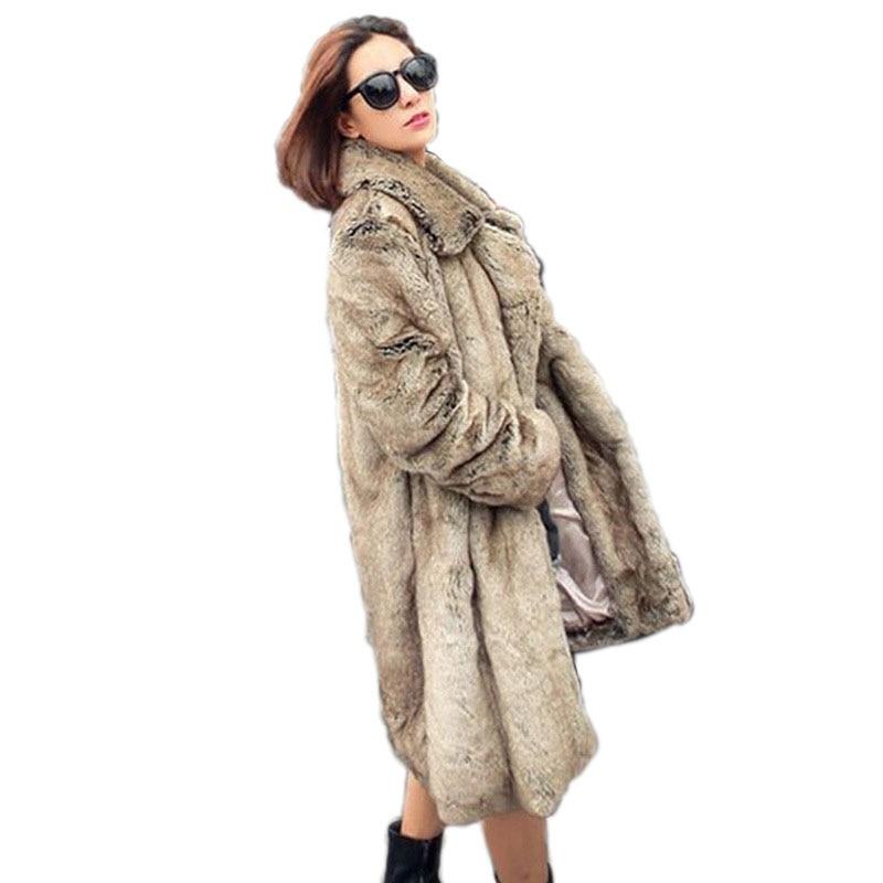 3822b7a56fa Women Plus Size Coat Overcoat Brown Leopard Coats Winter Warm Fake Fur Long  Coat