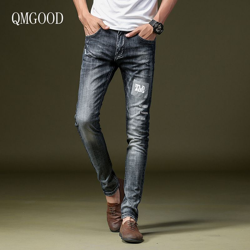 QMGOOD 2017 New Spring and Summer Men Fashion Retro Gray Slim Stretch Printing Cotton Jeans Men's Casual Cowboy Trousers 30 32