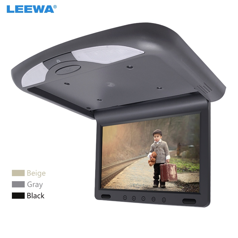 LEEWA 10.1 Inch Car Roof Mounted TFT LCD Monitor 2-Way Video Input Flip Down Multimedia Video Ceiling Roof Mount Display #CA1081
