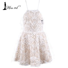 Free Shipping Missord 2015 Sexy halter sleeveless lace stitching dress FT2548