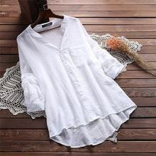 Blouse Women Casual Solid V Neck Blouse Cotton Linen Autumn Female Tops Long Sleeve V Neck Blouses Office Lady White Blouse цена 2017