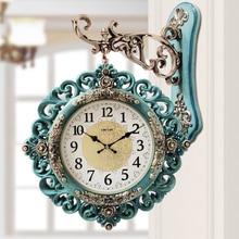 Европейские двойные односторонние часы для гостиной, бесшумные настенные часы, модные персональные украшения, простые европейские Роскошные Настенные Часы