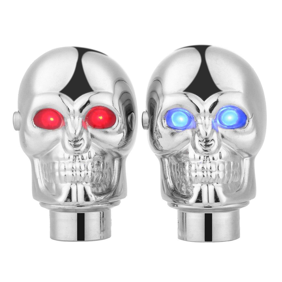 Универсальный сплав chrome серебряный череп ручной Шестерни Цельнокройное рычаг переключения рычага переключения Глава ж/светодиодный свет …