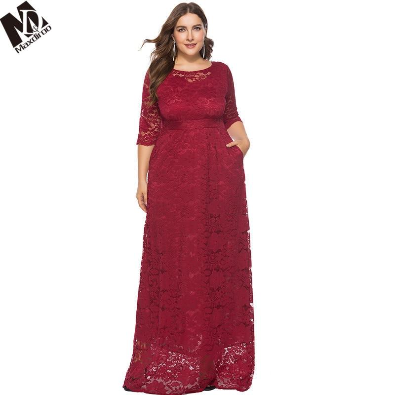 MAXDIROO Women Elegant Floor length Lace Dress White Red Black Plus Size  Long Dress 4XL 5XL 6XL Women Vestidos Robe Lngue Femme-in Dresses from  Women s ... e292fe19c24a