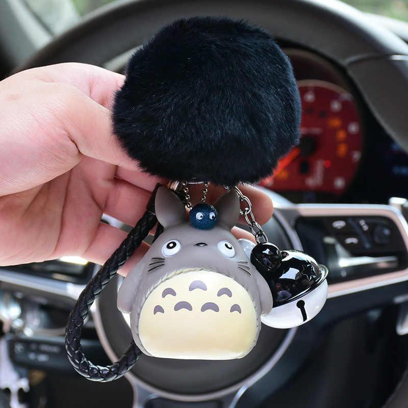 Desenhos animados Japão Anime Totoro Chaveiro De Pele Pom Pom Pompons Bola De Pêlo de Coelho Bolsa Saco Anel Chave Do Carro Chaveiro Pingente trinket presente